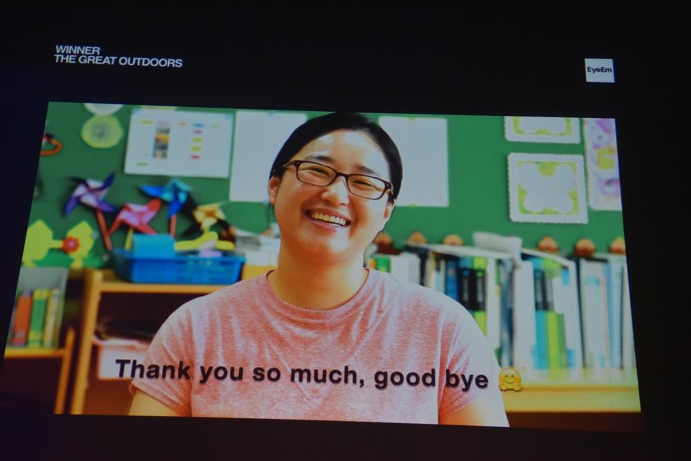 Ji-hyun Park, winner of The Great Outdoors, sent video message