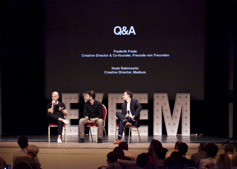 Frederik Frede and Noah Rabinowitz on stage for a Q&A with EyeEm's Severin Matusek